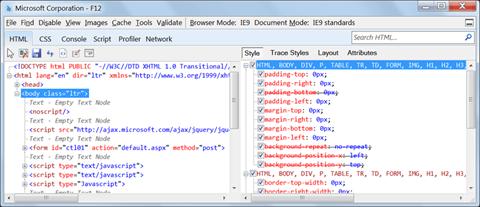 Internet Explorer Developer Tools