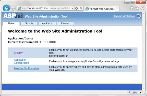 ASPNET - תצוגת Web Site Administration Tool