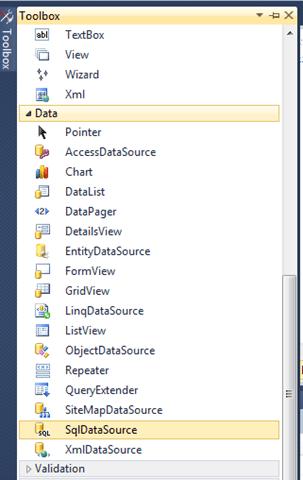 ASPNET - בחירת SqlDataSource מה-Toolbox