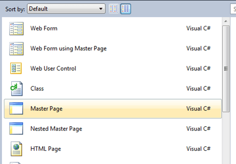 ASPNET - הוספת Master Page