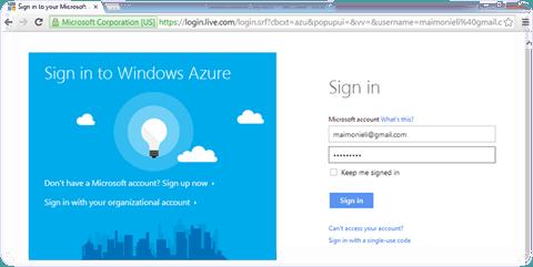 רישום לפורטל Windows Azure