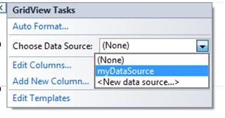 ASPNET - בחירת DataSource