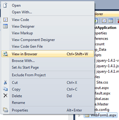 ASPNET - View In Browser