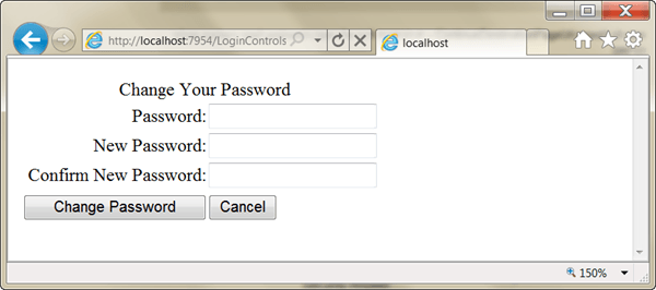 ASPNET - שינוי סיסמת משתמש