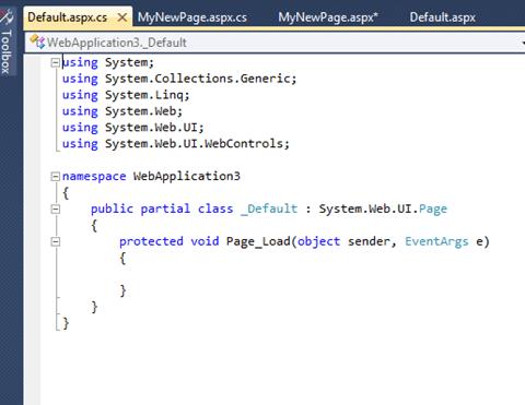 ASPNET. תצוגת Code Behind