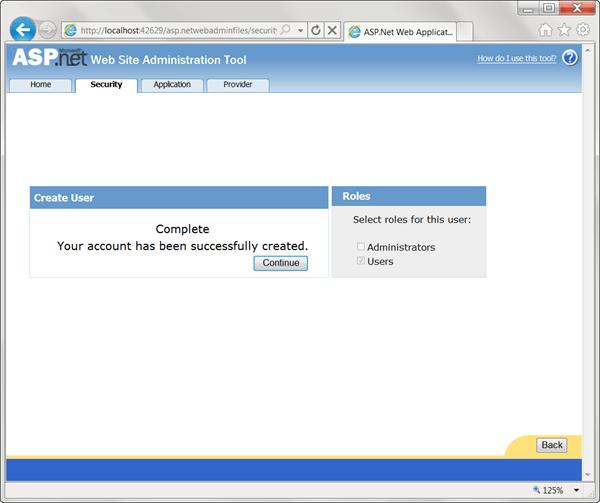 ASPNET - אישור הוספת משתמש