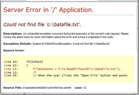 error without try/catch
