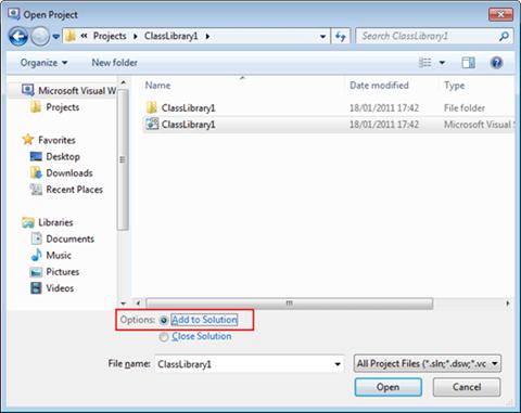 Visual Studio Express - הוספת פרוייקט קיים לפתרון