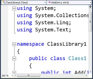 Visual Studio Express - תוצאה של הגדלת הכתב