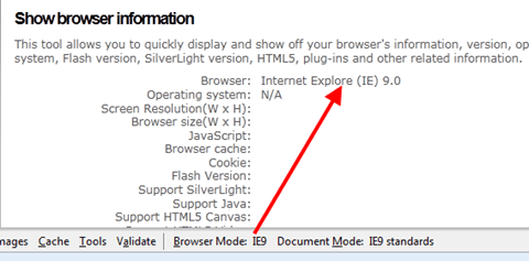 Browser mode: IE9