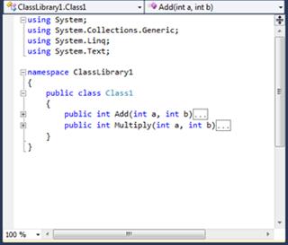 Visual Studio Express - תוצאה של צמצום חלקי קוד