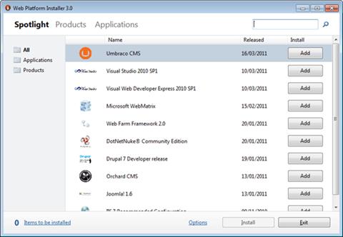 Visual Studio Express - מסך בחירת ההתקנה הרצויה