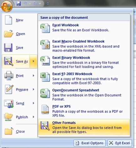 Saving the file as CSV