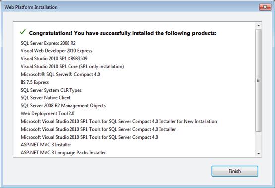 Visual Studio Express - מסך סיום ההתקנה