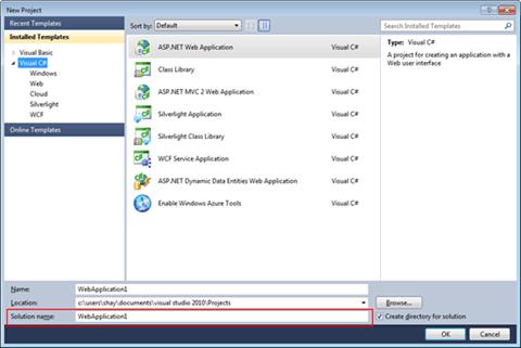 Visual Studio Express - שם הפתרון בעת יצירת פרוייקט חדש