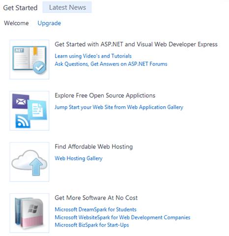 Visual Studio Express - חלק המידע במסך הפתיחה
