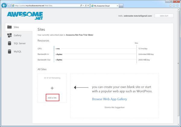 אחסון ג'ומלה בחינם עם תמיכה ב- WebMatrix