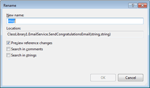 Visual Studio Express - חלונית שינוי שם משתנה