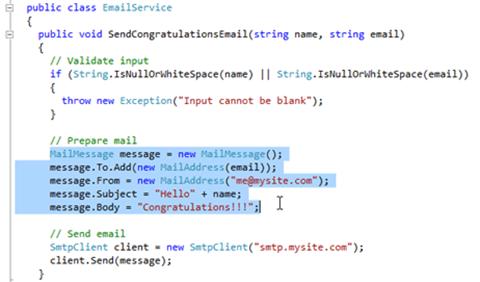 Visual Studio Express - סימון הקוד המיועד להוצאה למתודה חדשה