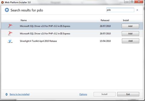 PDO in Web Platform Installer