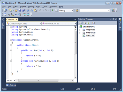 Visual Studio Express - מסך עורך הקוד