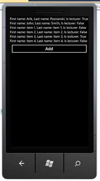 מדריך Windows Phone – שימוש ב Data Binding: חיבור ל Collection