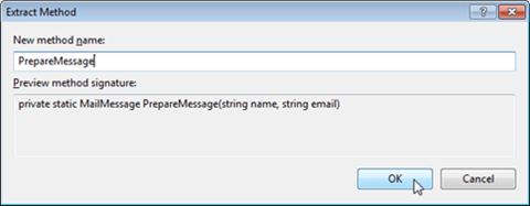 Visual Studio Express - חלונית הוצאה למתודה