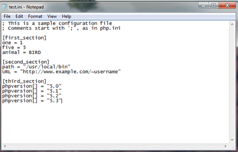 Example of ini file in notepad