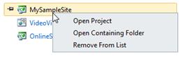 Visual Studio Express - אפשרויות נוספות עבור פרוייקטים אחרונים