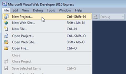 Visual Studio Express - יצירת פרוויקט חדש בתפריט