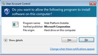 Visual Studio Express - חלונית אישור שעלולה להופיע במהלך ההתקנה