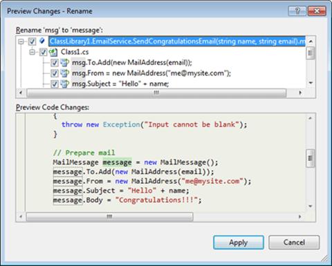Visual Studio Express - חלונית הצגת שינויים