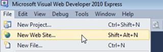 Visual Studio Express - יצירת פרוייקט חדש עבור דוגמא לניפוי שגיאות